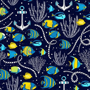 Deep Blue Sea - Nautical Fish Navy Blue