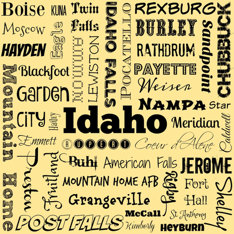 Idaho cities, yellow fabric by svester on Spoonflower - custom fabric