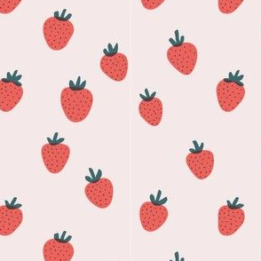 Strawberries on Light Pink by finka studio