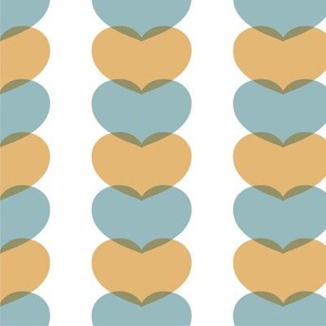 Linked Hearts (Aqua & Yellow) by finka studio