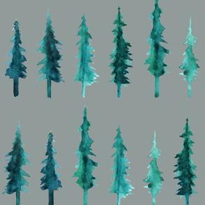 Watercolor Pine Trees (grey)