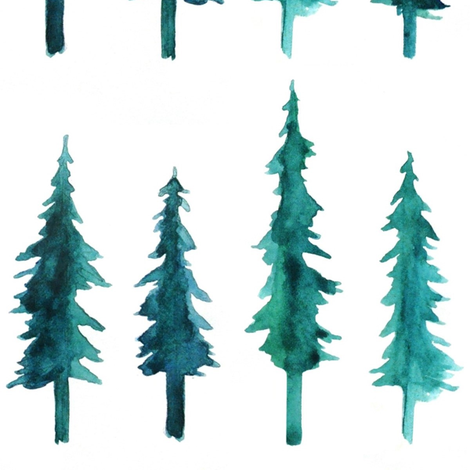 Watercolor Pine Trees fabric by hazelnut_green on Spoonflower - custom fabric