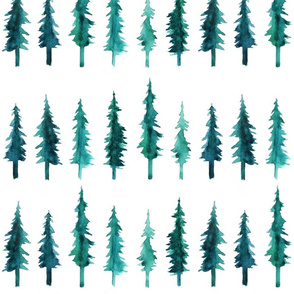 Watercolor Pine Trees