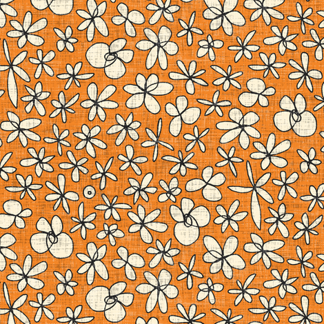 garland flowers orange fabric by scrummy on Spoonflower - custom fabric