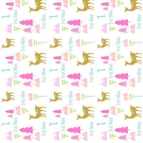 Meadow Deer - Pink  rain PERSONALIZED - Ivy Mae