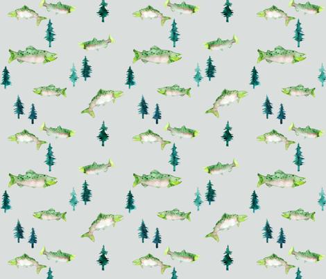 Pacific Northwest Salmon (Grey) fabric by hazelnut_green on Spoonflower - custom fabric
