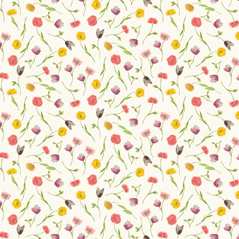 tossed_poppies fabric by danidesign on Spoonflower - custom fabric