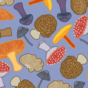 Mushrooms Scattered (blue)