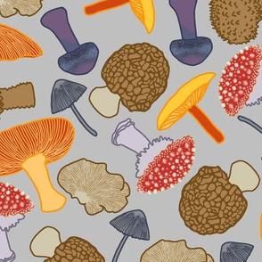 Mushrooms Scattered (grey)