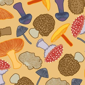 Mushrooms Scattered (tan)