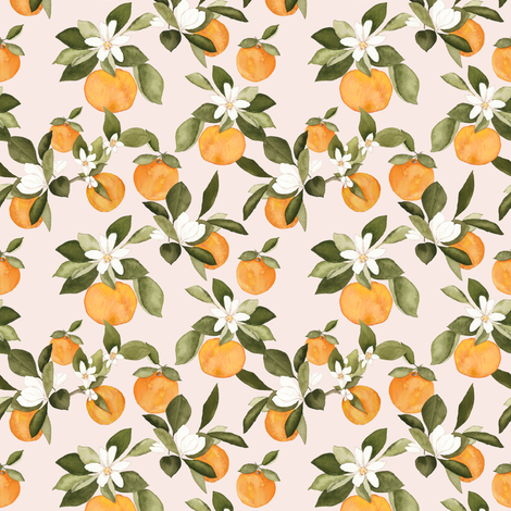 Oranges on pink small fabric by mintpeony on Spoonflower - custom fabric