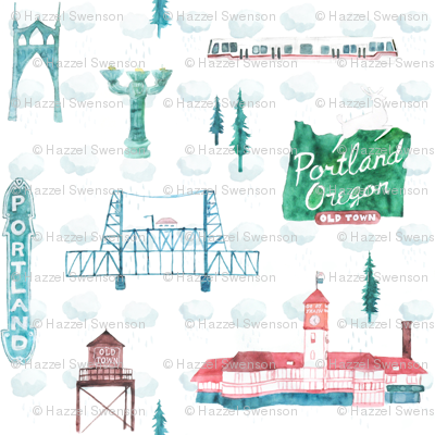 Old Town Portland in Watercolor