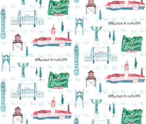 Old Town Portland in Watercolor fabric by hazelnut_green on Spoonflower - custom fabric