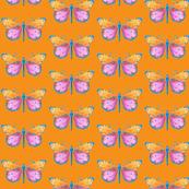 Medium small butterflies, colourful on orange || shirt top blouse night gown woman dress fun trendy man men girl kid women
