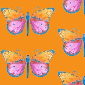 Large butterflies, colourful on orange || upholstery bag pillow curtains cushions table cloth bed sheet
