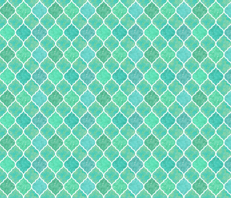 Turquoise &  White Marbled Quatrefoil fabric by samalah on Spoonflower - custom fabric