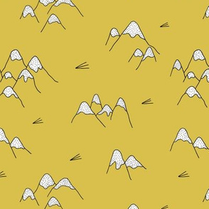 Japanese mount fuji woodland geometric nature asian prints mustard yellow