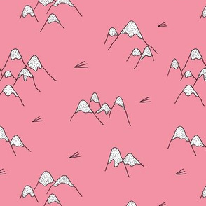 Japanese mount fuji woodland geometric nature asian prints pink girls
