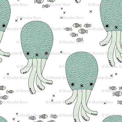 Magical under water world jelly fish octopus kids design gender neutral mint blue