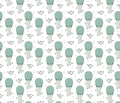Magical under water world jelly fish octopus kids design gender neutral mint blue fabric by littlesmilemakers on Spoonflower - custom fabric