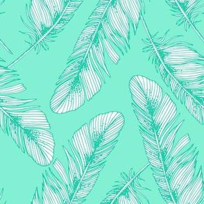 Feathers. Mint pattern