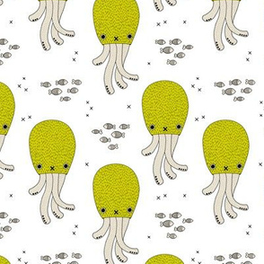 Magical under water world jelly fish octopus kids design gender neutral mustard