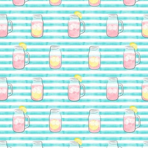pink lemonade - summer time drinks on blue stripes