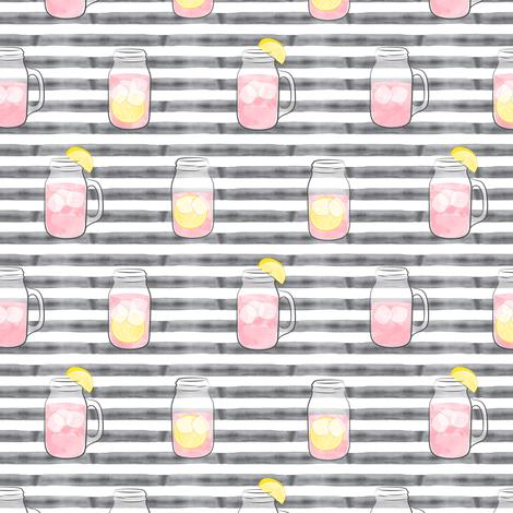 pink lemonade on grey stripes  - mason jar fabric fabric by littlearrowdesign on Spoonflower - custom fabric