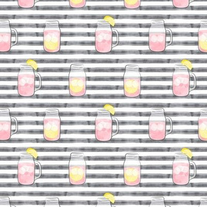 pink lemonade on grey stripes  - mason jar fabric