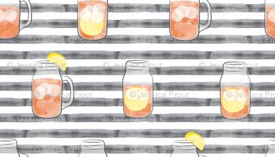 sweet tea on grey stripes  - mason jar fabric
