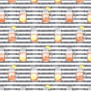 sweet tea on grey stripes  - mason jar fabric