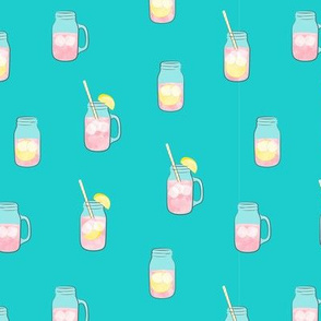 pink lemonade  w/ straws - summer time drinks - mason jar