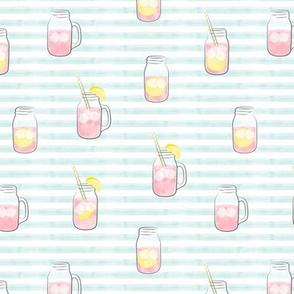 pink lemonade  w/ straws - summer time drinks on light blue