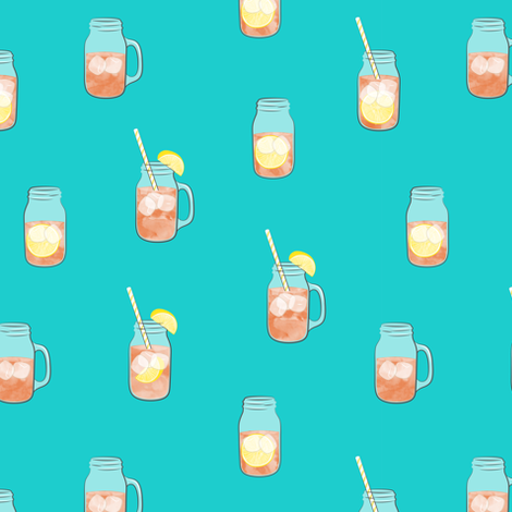 sweet tea w/ straws - summer time drinks fabric by littlearrowdesign on Spoonflower - custom fabric