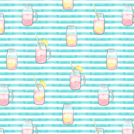 pink lemonade  w/ straws - summer time drinks on blue  stripes fabric by littlearrowdesign on Spoonflower - custom fabric