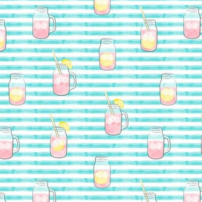 pink lemonade  w/ straws - summer time drinks on blue  stripes