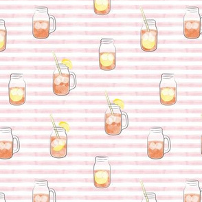 sweet tea w/ straws - summer time drinks on pink  stripes