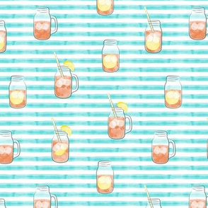 sweet tea w/ straws - summer time drinks on blue stripes