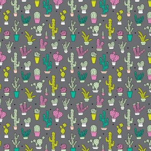 Cactus cacti summer garden botanical colorful retro kids  pattern  XS