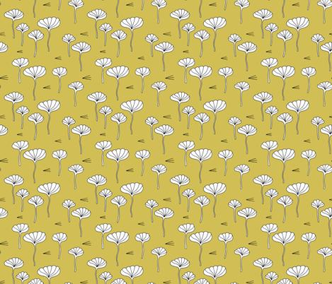Japanese lotus flower garden sweet minimal botanical japan designs mustard yellow fabric by littlesmilemakers on Spoonflower - custom fabric