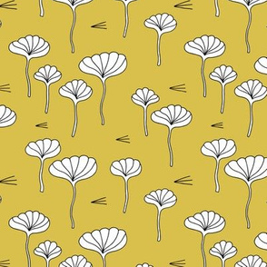 Japanese lotus flower garden sweet minimal botanical japan designs mustard yellow