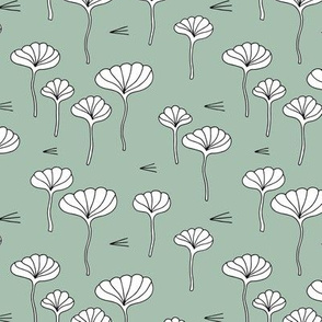 Japanese flower garden sweet minimal botanical japan designs moss green