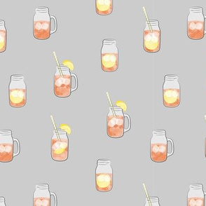 sweet tea w/ straws - summer time drinks on grey  - mason jar fabric