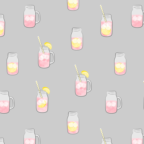 pink lemonade w/ straws - summer time drinks on grey   fabric by littlearrowdesign on Spoonflower - custom fabric