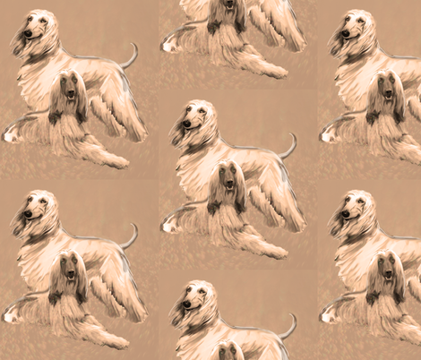 Afghan Hounds in Sepia tones fabric by dogdaze_ on Spoonflower - custom fabric