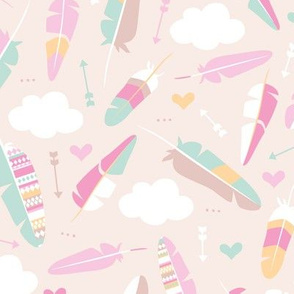 Geometric feathers pastel arrows and clouds illustration pattern girls