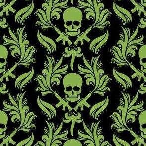 Damask Skulls Greenery