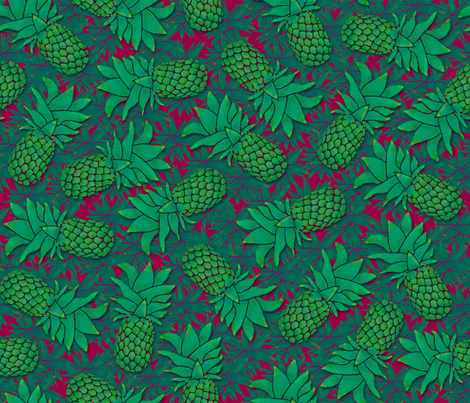 Pineapples on wine red fabric by elevenmakes on Spoonflower - custom fabric