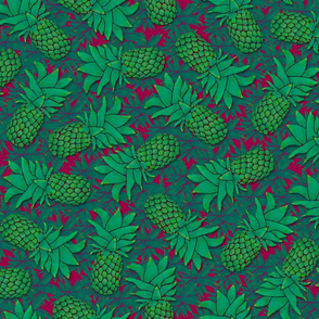 Pineapples on wine red