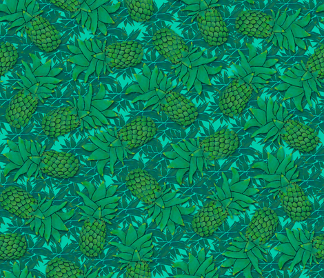 Pineapples on mint blue fabric by elevenmakes on Spoonflower - custom fabric